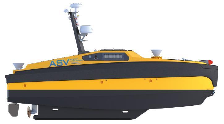 (USV) Unmanned Surface Vessel side profile.