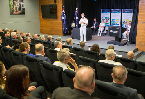 Chief of Navy, Vice Admiral Michael Noonan, AO, RAN, delivering his keynote speech to the delegates and invited guests of the Hydroscheme Industry Partnership Program