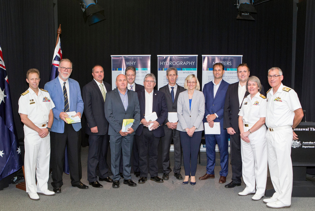 Chief of Navy, Vice Admiral Michael Noonan, AO, RAN, with Guardian Geomatics Commercial Manager Steve Duffield and additional key company representatives of the Hydroscheme Industry Partnership Program (HIPP) after the HIPP Deed Signing Ceremony, Russell Offices, Canberra