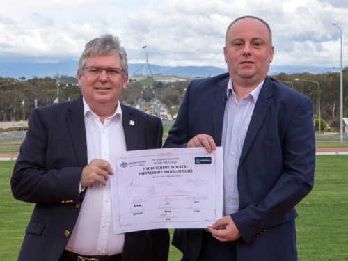 Guardian Geomatics representatives with the Hydroscheme Industry Partnership Program Commemoration Certificate during a Ceremony held at Russell Offices, Canberra.